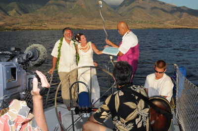 Sunset Sail Wedding ceremony aboard the yacht Scotch Mist