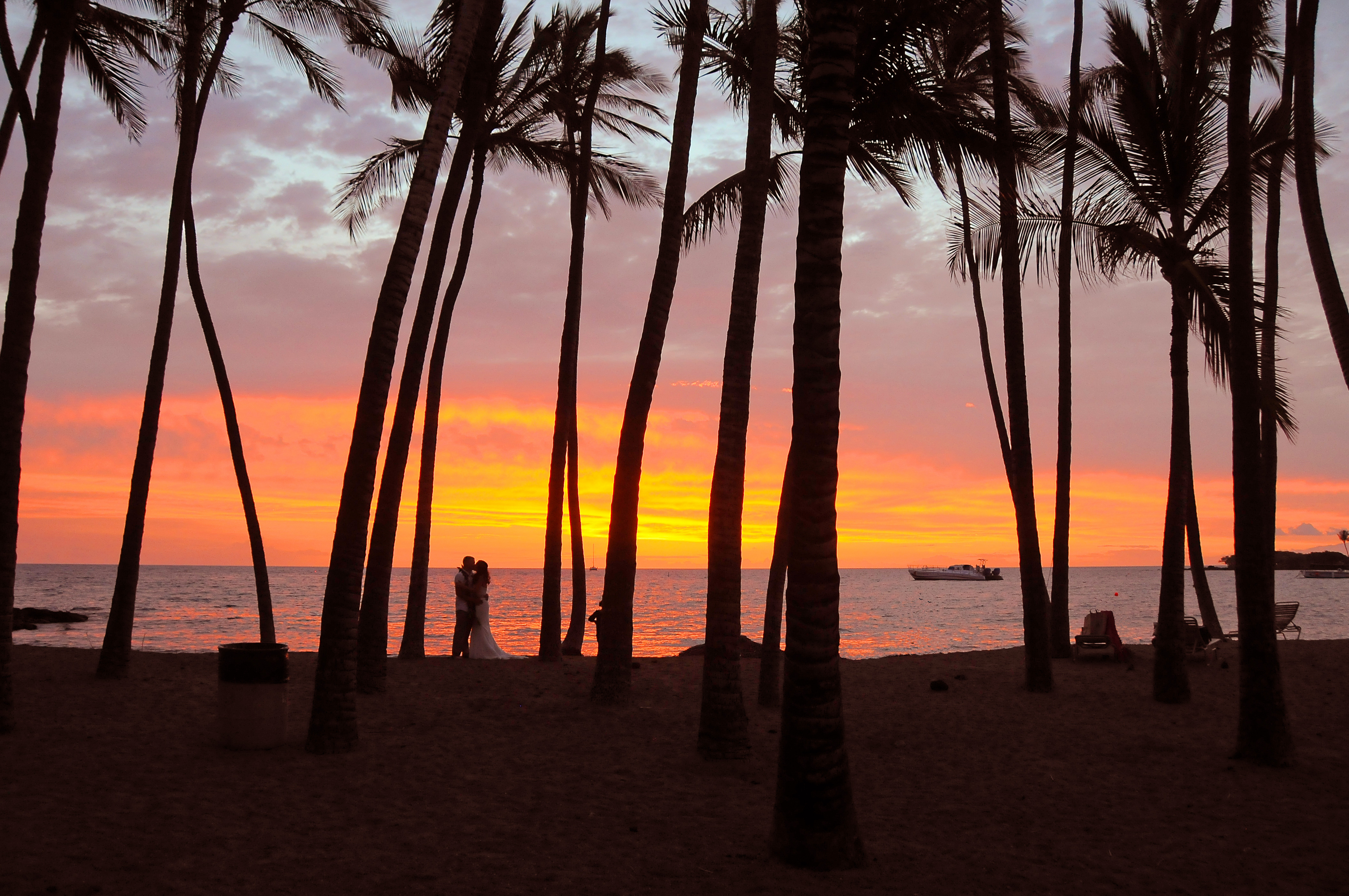Sunset at Anaehoomalu Bay Beach
